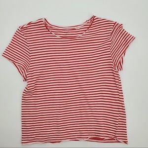 PacSun Basics Striped T Shirt Red White basic xs